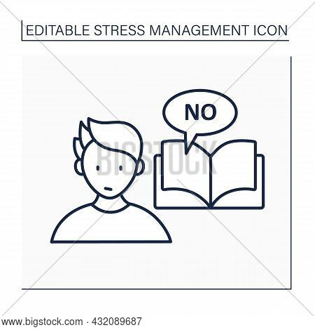 Avoid Stressful Situation Line Icon. Learn How To Say No.defending Personal Boundaries. Eliminate St