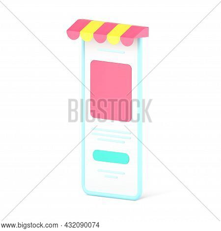 Web Store In Smartphone Application 3d Icon. Digital Gadget With Colored Canopy And Web Menu