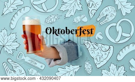 Contemporary Art Collage With Hand Holding Beer Glass With Light, Lager Cold Foamy Beer. Concept Of