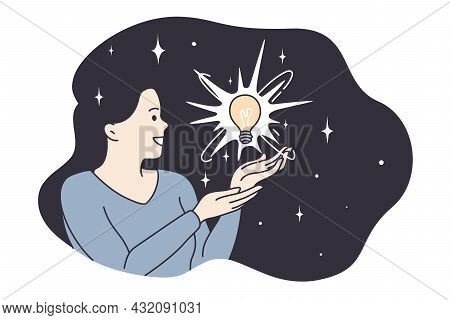 Enlightenment, Harmony, Having Great Idea Concept. Young Smiling Woman Cartoon Character Having Ligh