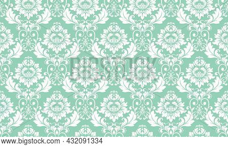 Wallpaper In The Style Of Baroque. Seamless Vector Background. White And Green Floral Ornament. Grap