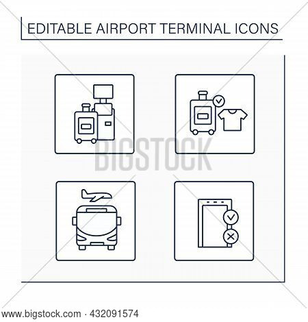 Airport Terminal Line Icons Set. Self-check-in, Baggage Registration, Shuttle, Gate.transfer Service