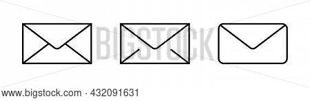 Envelope Icons Set. Outline Mail Icons. Email Symbol. Transparent Envelope Set. Contact Sign