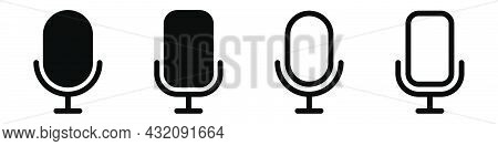 Mic Icons Set. Microphone Symbol. Glyph And Outline Audio Pictogram. Music Symbol In Black. Transpar