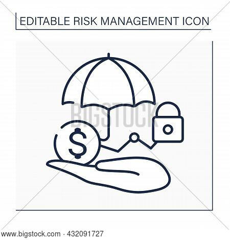 Risk Control Line Icon. Loss Control. Identifying Potential Losses. Devises Strategies To Reduce Or