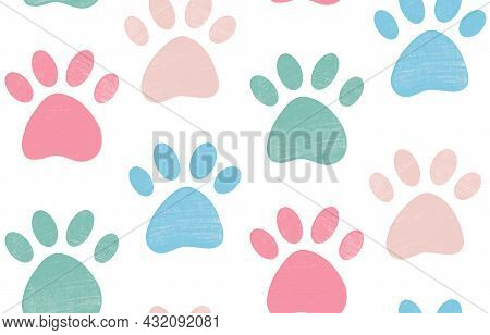 Cute Gentle Seamless Pattern With Crayon Pencil Textured Pet Paw In Pastel Colors. Vector Background