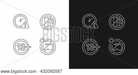 Vr Headset Usage Linear Manual Label Icons Set For Dark And Light Mode. Customizable Thin Line Symbo