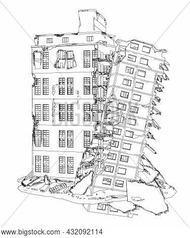 Contour Of A Destroyed Building From Black Lines Isolated On A White Background. Vector Illustration