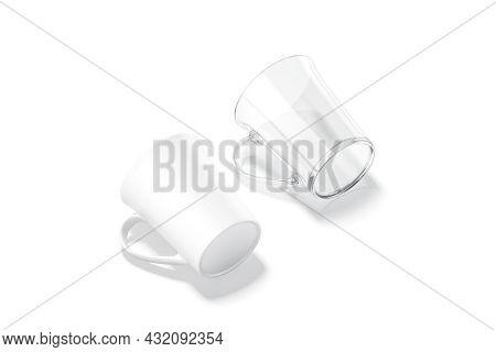 Blank Ceramic And Glass Bell-shaped 11oz Mug Mockup Lying Bottom, 3d Rendering. Empty Glassful Coffe