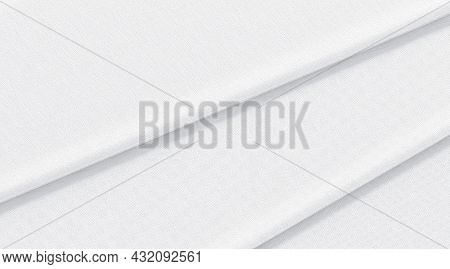 Blank White Folded Fabric Material Mockup, Top View, 3d Rendering. Empty Smooth Canvas For Drapes Or