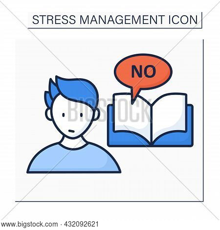 Avoid Stressful Situation Color Icon. Learn How To Say No.defending Personal Boundaries. Eliminate S