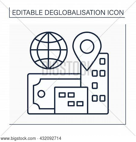 Reverse Globalization Line Icon. Integration Of Economies And Financial Markets. Deglobalisation Con