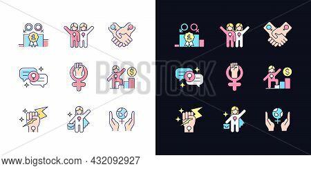 Feminist Movement Light And Dark Theme Rgb Color Icons Set. Gender Parity. Female Friendship. Woman