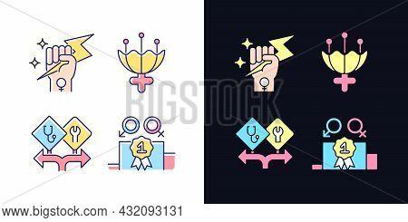 Women Empowerment Light And Dark Theme Rgb Color Icons Set. Female Authority. Femininity Attribute.