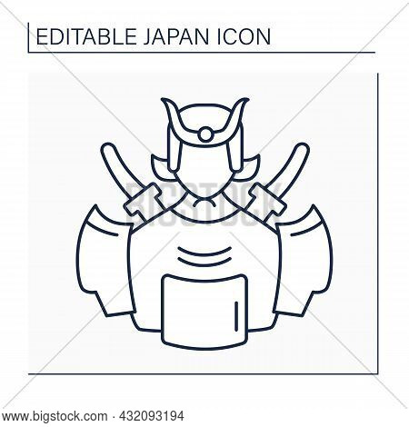 Samurai Line Icon. Military Nobility. Bushido Codes Of Martial Virtues, Indifference To Pain, And Un