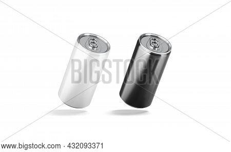 Blank Black And White Aluminum Narrow 280 Ml Soda Can Mockup, No Gravity, 3d Rendering. Empty Steel
