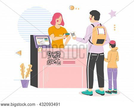 Qr Code Check-in, Scanning At Cinema Entrance, Vector Illustration. Contactless Qr Code Visitor Regi