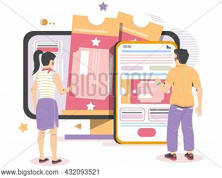 People Buying Cinema, Theater Tickets From Mobile, Computer, Vector Illustration. Online Tickets Res