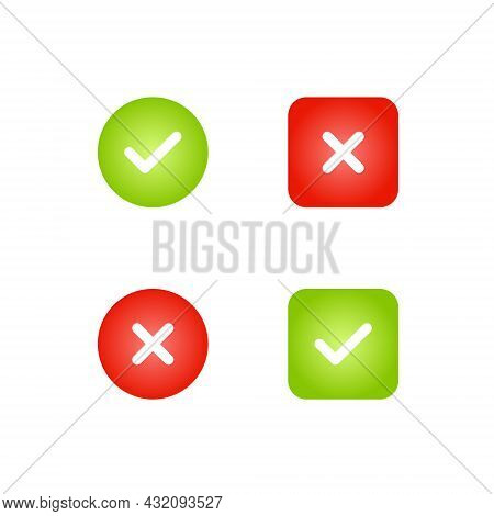 Right And Wrong Symbols. Check Mark Icon Vector