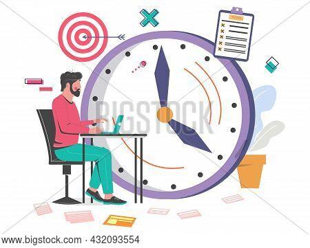Office Man Working On Laptop. Clock, Target, Checklist, Vector Illustration. Time Management, Schedu
