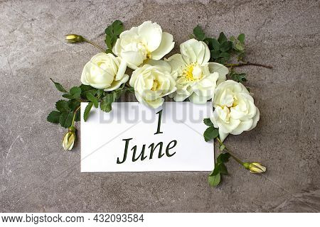 June 1st . Day 1 Of Month, Calendar Date. White Roses Border On Pastel Grey Background With Calendar