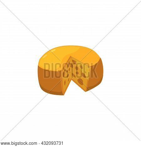 Round Head Of Dutch Hard Milk Cheese With Cut Piece A Vector Illustration.