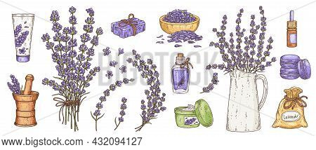 Aromatic And Cosmetic Products With Lavender Set, Vector Illustration Isolated.