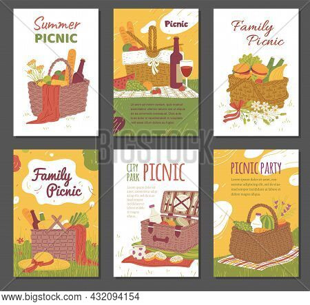 Cards Or Posters Collection With Picnic Baskets Full Of Tableware And Foods, Hand Drawn Vector Illus