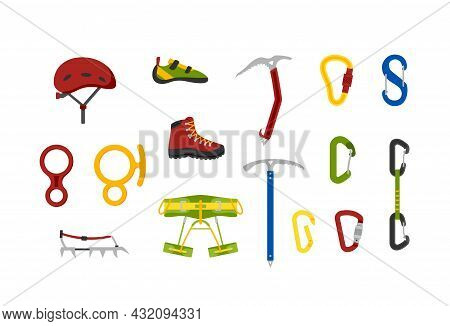 Climbing And Tourist Equipment Icons Set Of Flat Vector Illustrations Isolated.