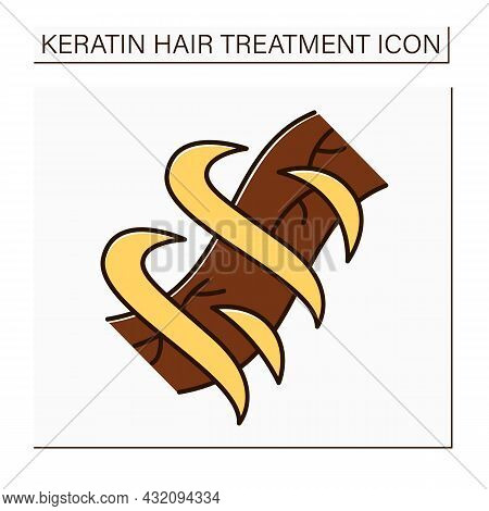 Hair Treatment Color Icon. Restores Hair Structure. Nutrition And Strengthening Procedures. Keratin