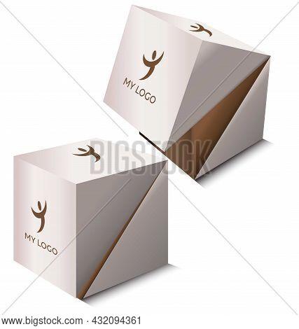 2 Square Cardboard Boxes Mockup. Cubic Shaped Box Set