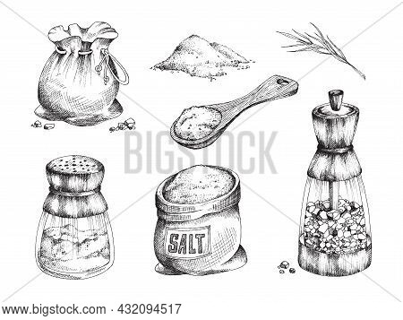 Salt - For Seasoning, Cooking And Preserving Food A Vector Illustrations