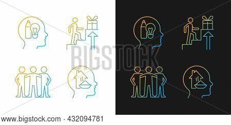 Motivational Boosters Gradient Icons Set For Dark And Light Mode. Desire To Belong To Community. Thi