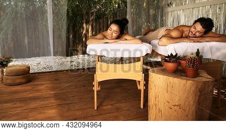 Beautiful Couple During Relaxation And Massage, Joint Day At Wellness Bali Spa, Outdoors. Handsome M