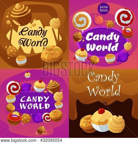 Set Of Beautiful Vector Cartoon Design Posters For Advertise Of Sweet Food.