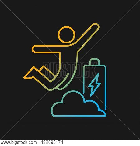 Increased Energy Gradient Vector Icon For Dark Theme. Motivation Boosts Energy And Productivity. Flo