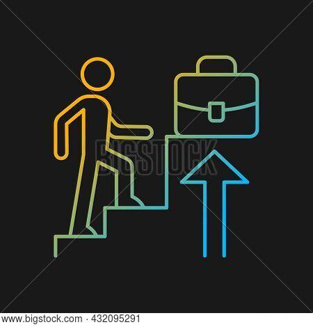 Promotion Gradient Vector Icon For Dark Theme. Career Raise. Better Employee Performance. Worker Adv