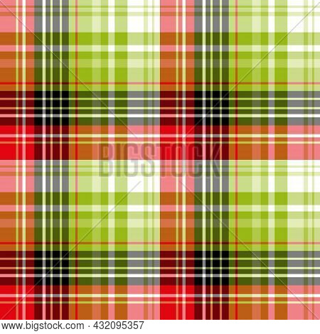 Seamless Pattern In Fresh Red, Green, Black And White Colors For Plaid, Fabric, Textile, Clothes, Ta
