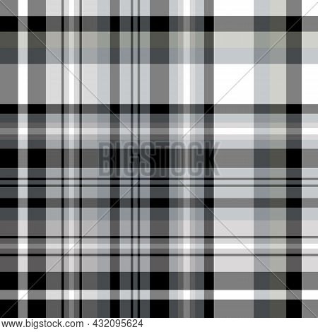Seamless Pattern In Black, White And Gray Colors For Plaid, Fabric, Textile, Clothes, Tablecloth And