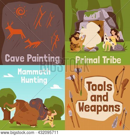 Set Banners On Topic Of Prehistoric Cave People Life, Flat Vector Illustration.