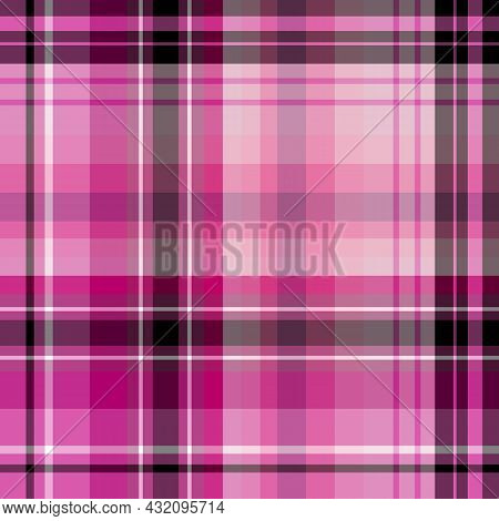 Seamless Pattern In Cold Pink, Black And White Colors For Plaid, Fabric, Textile, Clothes, Tableclot