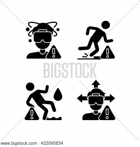Virtual Reality Headset Warning Black Glyph Manual Label Icons Set On White Space. Usage And Playing