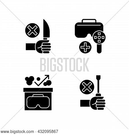 Virtual Reality Helmet Usage Guide Black Glyph Manual Label Icons Set On White Space. Vr Glasses Ins