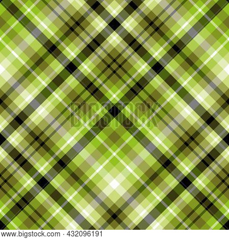 Seamless Pattern In Fresh Green, Black And White Colors For Plaid, Fabric, Textile, Clothes, Tablecl