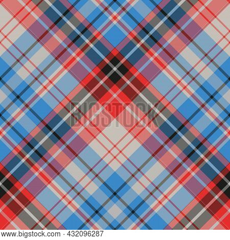 Seamless Pattern In Blue, Red, White, Gray And Black Colors For Plaid, Fabric, Textile, Clothes, Tab