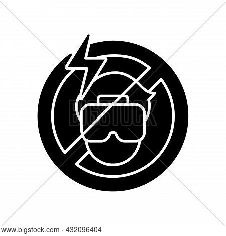 Do Not Use If The Headset Causes Headache Black Glyph Manual Label Icon. Vr Interaction Causes Disco