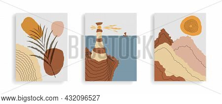 Set Of Abstract Posters With Landscapes. Modern Boho Background, Sun, Lighthouse, Mountains, Sea, Oc