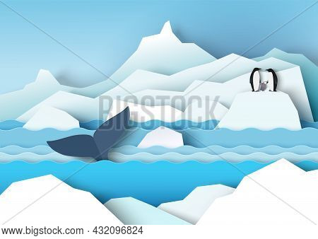 Antarctica Scenery With Glaciers, Icebergs, Penguin Family And Whale, Vector Paper Cut Illustration.