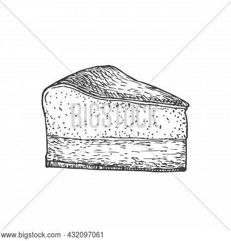 Cheese Cake Sweets Hand Drawn Doodle Vector Illustration. Confectionary Sketch Style Drawing. Isolat