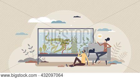 Aquascaping As Aquatic Plants Arrangement In Aquarium Tiny Person Concept. Water Garden And Marine E